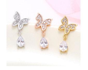 925 Sterling Silver Stud Earrings Rose Gold/Silver/Gold, Crystal Butterfly, Earrings