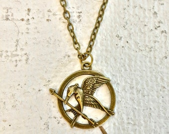 The Hunger Games Mockingjay Antique Gold Pendant Necklace