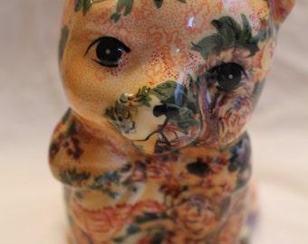 vintage floral ceramic cat
