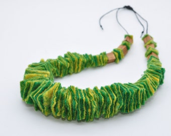 Green and yellow wool  Felted necklace Eco Friendly Jewelry felted beads necklace Felted Balls