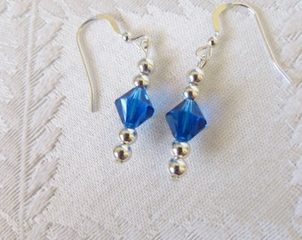Sterling Silver & Blue Crystal Drop Earrings, SE-111