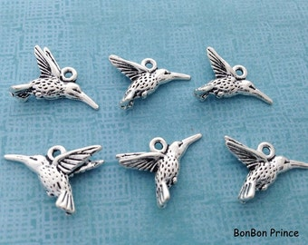 10pcs Hummingbird Silver Charm,Silver Hummingbird Pendant, Silver bird Charm,DIY Jewelry Charm,Bird Bracelet Bangle Necklace Charm,CS252