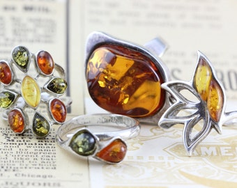 Lot of 4 Amber Resin Rings Sterling Silver - Vintage Ring 925 - Sizes 5.25 - 10
