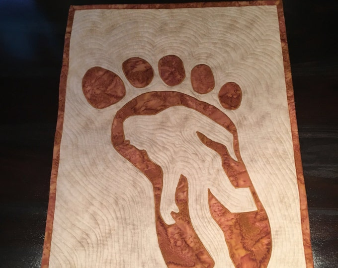 Mysterious Bigfoot Mini Quilt, Brassy Brown, Decor, Wall Art