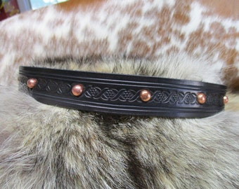 Handmade Leather Hat Band, Tooled Leather Hat Band with Copper Dome Spots, Adjustable Hat Band