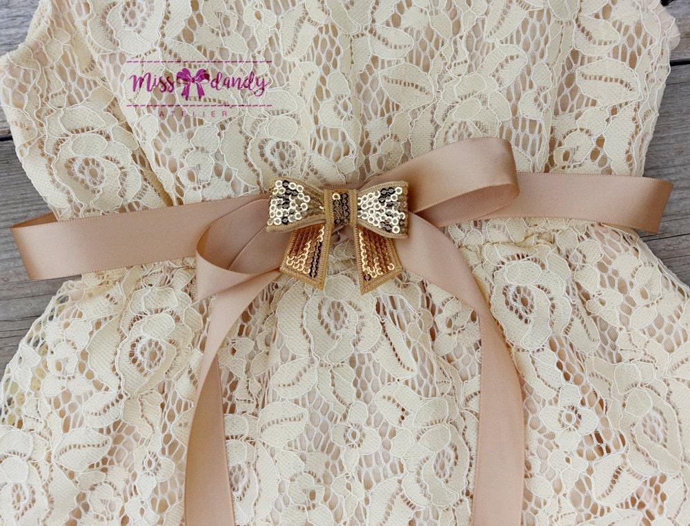 Zoe Dress- Lace Flower Girl dress - Flower Girl Dresses - Champagne flower girl dress - Lace dress - Rustic Girls Dress- Junior Bridesmaid