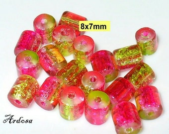 20 Crackle beads pink green tube 8x7mm (K896. 2)