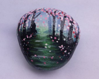"Hand Painted ""Spring Path"" Rock Art"
