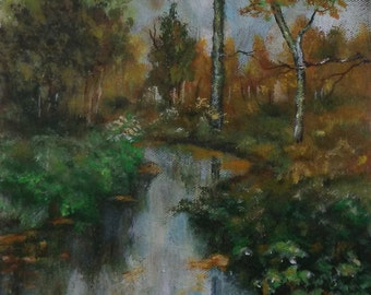 Small landscape acrylic on canvas -river  painting on no stretched canvas, contemporary art