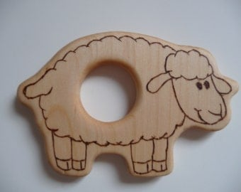 Baby's Wooden Sheep Teether