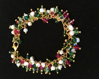 Pinks and Greens, Beads and Crystals Bracelet