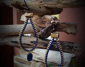 Teardrop Earrings, zipper