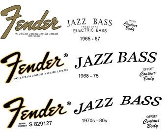 Three Jazz Bass Headstock Decals