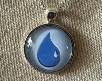 Magic the Gathering Pendant Necklace / Silver / Island / Water Drop