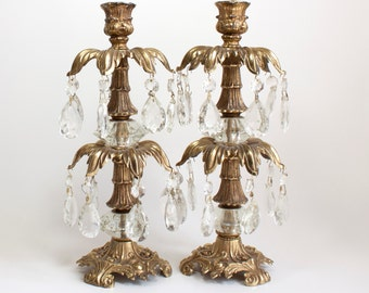 Brass and Crystal Candle Holders Set of 2