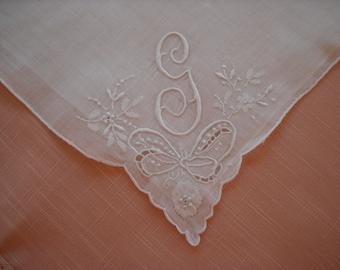 Vintage Monogram G Handkerchief Wedding Hanky Bridal