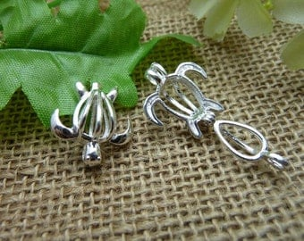 2 Turtle Ball Bead Cage Silver Tone with Hinge Makes Stunning Pendants (YT7566)
