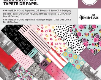 New We R Memory Keepers 6x6 Paper Pad - Urban Chic - 36 sheets - City View/Unique Lip Prints/Floral/Donuts/Eyelashes