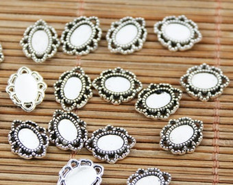 100pcs tibetan silver tone oval little cameo cabochon settings in 4x6mm  EF1713