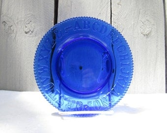 Vintage Glass ABC plate, Cobalt blue glass children's plate, blue glass plate, Alphabet plate, childs first plate, beaded edged plate