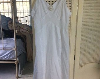 Vintage Lingere, Nightgown Slip, Cotton with eyelet bed jacket
