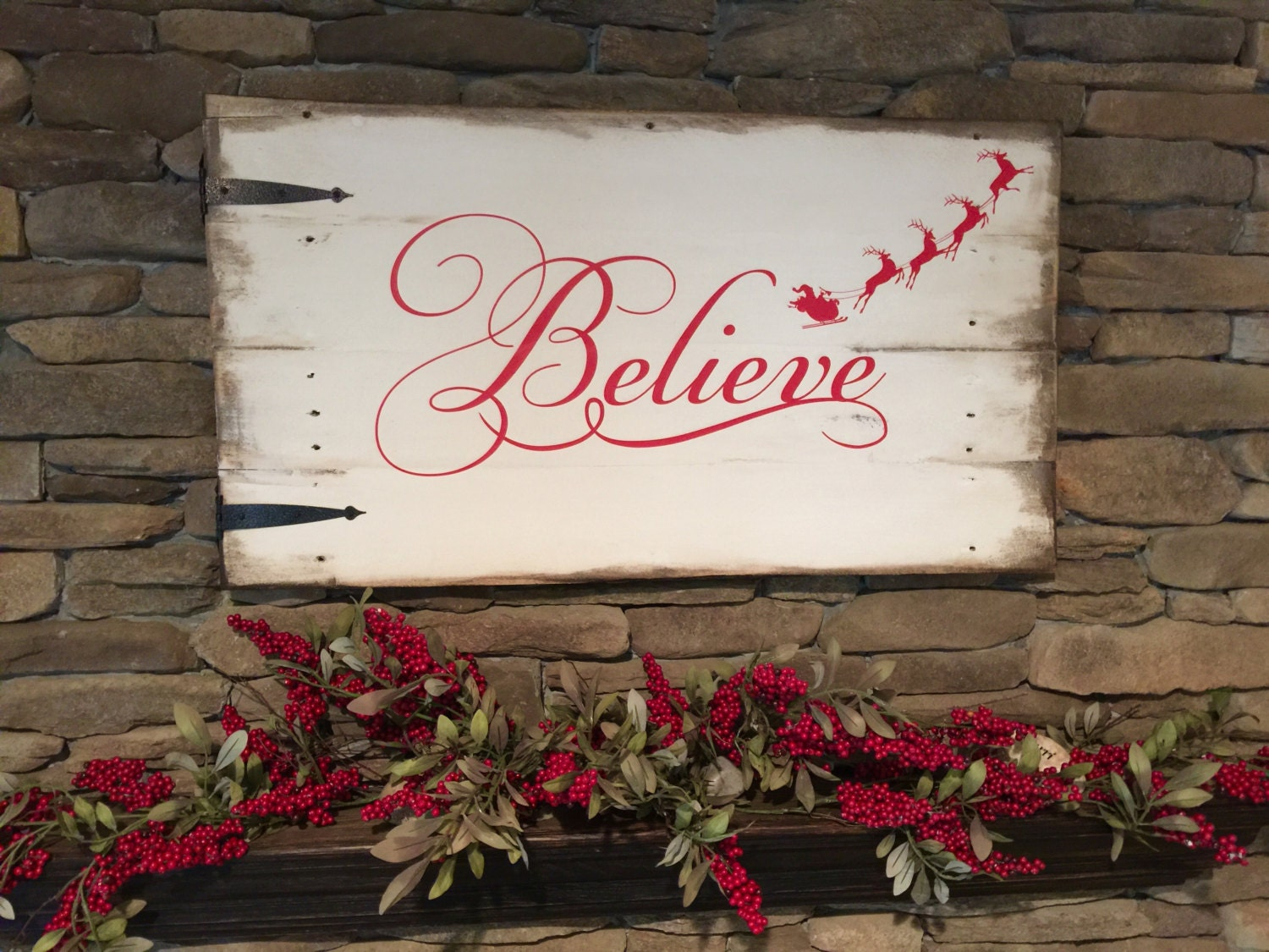 Reclaimed Wood Sign Believe Believe Christmas Sign