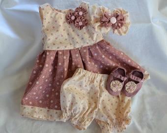 full skirt dusty rose dress little girls party girls dress 0-newborn