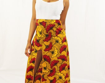 African Print Front Split Maxi Skirt (Rose)