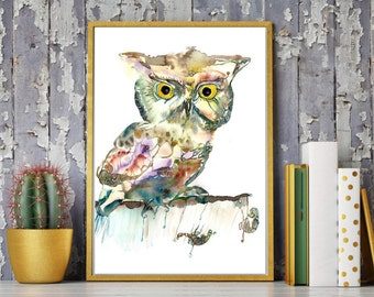 Owl watercolor  painting, Colorful owl, Bird Painting, Owl art Print, Animal, Bird Print, Watercolor animal, Owl wall art, Owl home décor