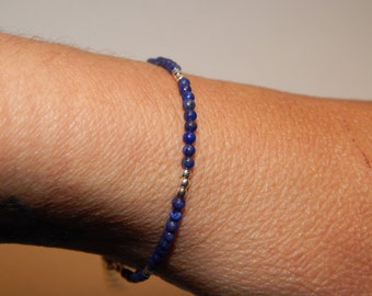 in lapis lazuli and silver bracelet