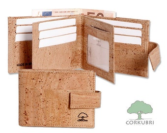 Portfolio of Cork with compartments for credit cards, identification,