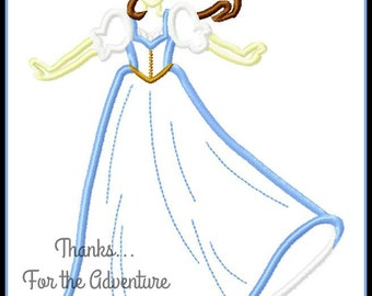 Belle from Beauty and the Beast Digital Embroidery Machine Applique Design File 5x7 6x10
