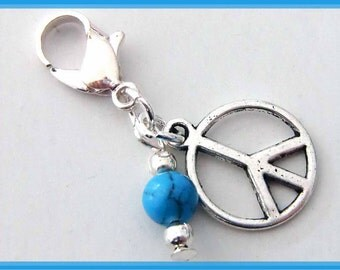 Pendant charm peace turquoise bead - for charm bracelet - stained mixx DESIGN
