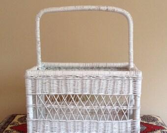 Vintage wicker basket with handle, white wicker basket, large basket, storage basket, magazine holder, garden basket, knitting basket