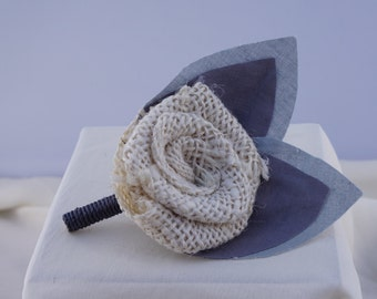 Cream Burlap Boutonniere with Two Gray leaves