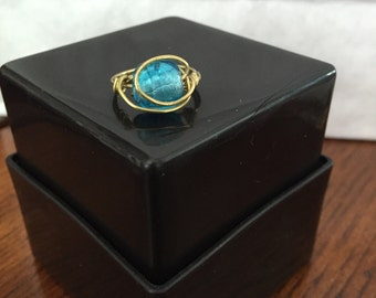Blue/Gold Ring Wire Wrapped - Size 6