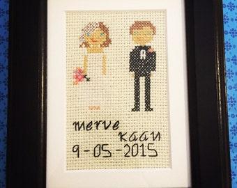 Bride&Groom Cross Stitch Portrait