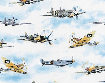 Robert Kaufman Transportation Fabric - Battle of Britain Spitfires - White - Per 1/2 metre - 100% Cotton
