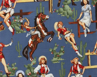 Alexander Henry From The Hip - Western Cowgirl Rodeo Pin Up Girl Fabric - Chambray - Per 1/2 metre - 100% Cotton