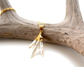 Natural Fresh Water Pearl Necklace dipped in 24K Gold leaf with 24k Gold Plated Chain