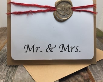 Mr. and Mrs. Card, Wedding Card, Love Card, Newly Weds Card, Bride and Groom Card, Newly Weds, Bride and Groom, Wedding, Congratulations