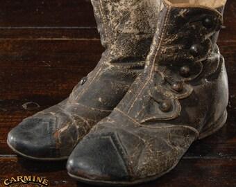 "Antique Child's Funeral Shoes 6""x4.5"""