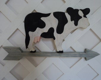 rustic cow wall hanger, rustic cow , cow on arrow, counry cow, shabby chic cow, wall cow, hanging cow, cow,