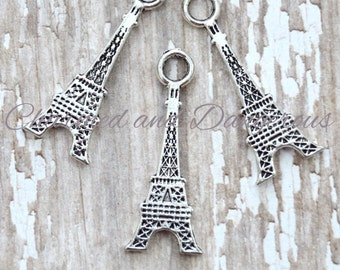 10 Pewter Flat Eiffel Tower charms (CM66)