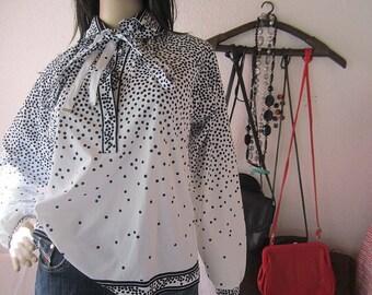 Vintage 80s blouse polka dot Franks forests blouse