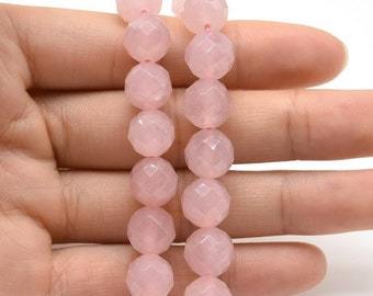 Rose quartz beads, 10mm round faceted, A grade pink  stone beads, faceted rose quartz beads strands, loose beads gemstone jewelry, RQZ1060