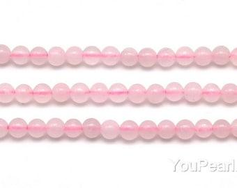 Rose quartz beads, 3mm round, small pink stone beads, natural gemstone strand, A grade semi precious beads, DIY beads wholesale, RQZ2007