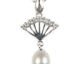 White pearl pendant, teardrop pearl pendant necklace, freshwater pearl pendant, 925 sterling silver real pearl pendant, 7-8mm, F2810-WP