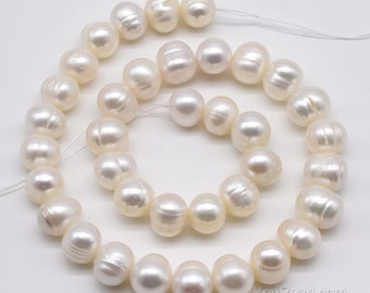 White fresh water pearl, 11-12mm natural pearl beads, large hole pearl, drilled up to 2.5mm big hole, ringed pearl wholesale, FQ810-WS