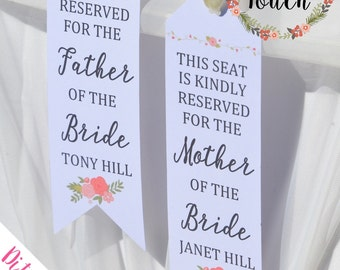 Personalized Wedding Ceremony Reserved Signs Floral, Seat Sign, Chair Reserved